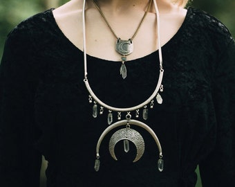 Occult Statement Necklace with Silver Crescents and Quartz Crystals / Tennessee Witch Collection