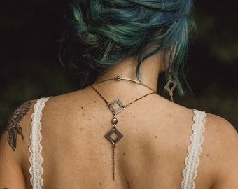 Artemis Reversible Necklace with Labradorite Ovals / Bridal Line