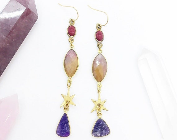 Star Sister Earrings with Amethyst, Pink Orange Mookaite, Vintage Red Scarabs, and Stars