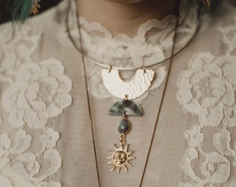 Mary Hannah Choker with Vintage Sun, Labradorite, and Shell Crescent / Bridal Line