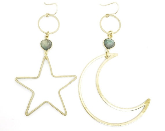 The Brigitte Moon and Star Witchy Celestial Mismatched Moon and Star Earrings with Labradorite or Pyrite / Bridal Line