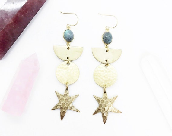 Kali Earrings with Labradorite, Crescents, and Stars