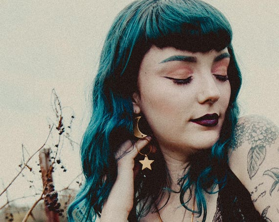 Rhiannon Moon and Star Earrings