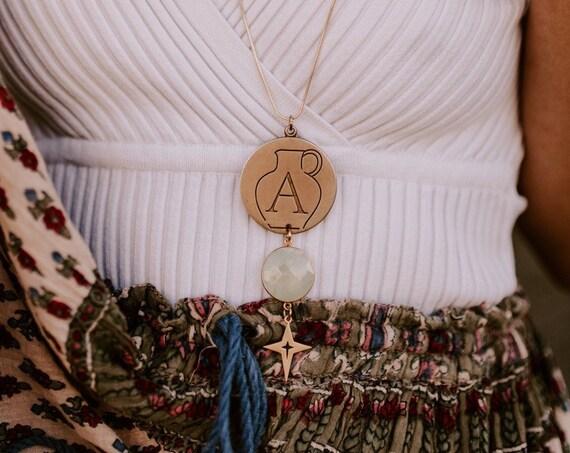 Aquarius Zodiac Necklace with Prehnite