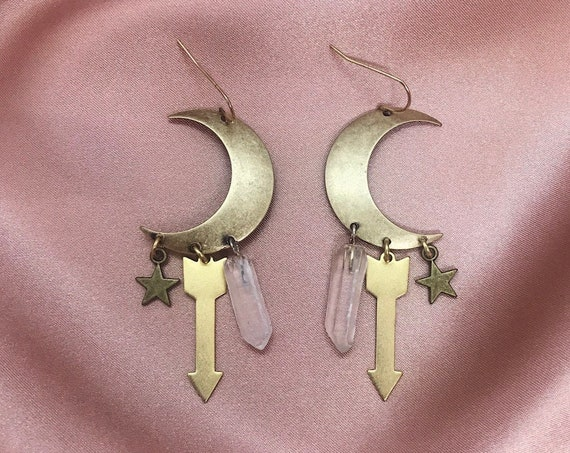 Special Edition Sisters of the Moon Earrings in Brass with Quartz Crystals