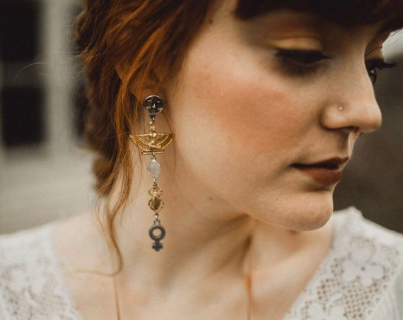 Spellwork Earrings with Vintage Egyptian Amulets, Venus Charms, Man in the Moon Studs, and Moonstone