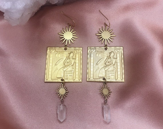Sun God Earrings with Vintage Brass Egyptian Pharaoh Frieze, Suns, and Quartz Points