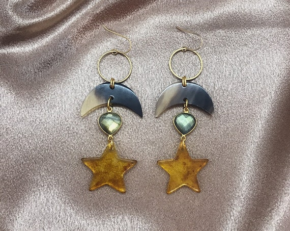 Starcatcher Earrings with Stars, Crescents, and Labradorite