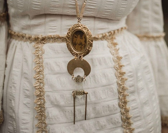 Vintage Photograph Necklace with Quartz Crystal