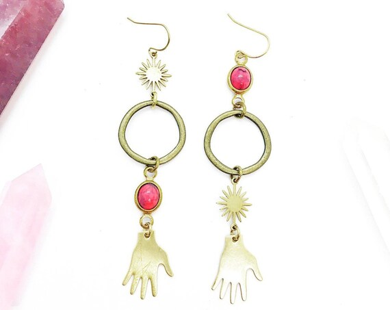 Palm Reader Mismatched Earrings with Brass Circles, Suns, and Vintage Pink Lucite Connectors