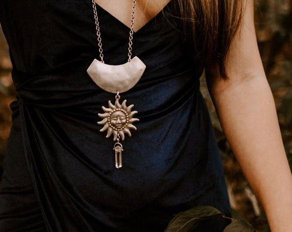 Summer Solstice Necklace Goddess Sun with Emerald and Quartz
