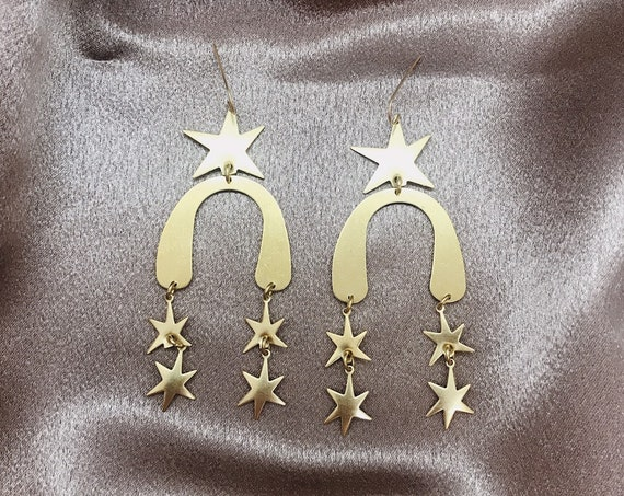 Stardance Earrings with Brass Stars