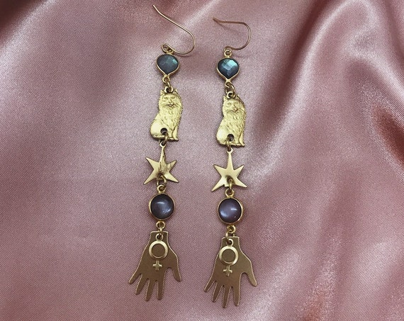 Venus Cat Earrings with Brass Cats, Stars, Hands, Venus Charms, Peach Moonstone, and Labradorite