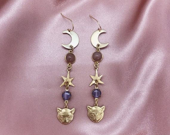 Moon Kitty Earrings with Brass Cats, Stars, Moons, and Peach Moonstone