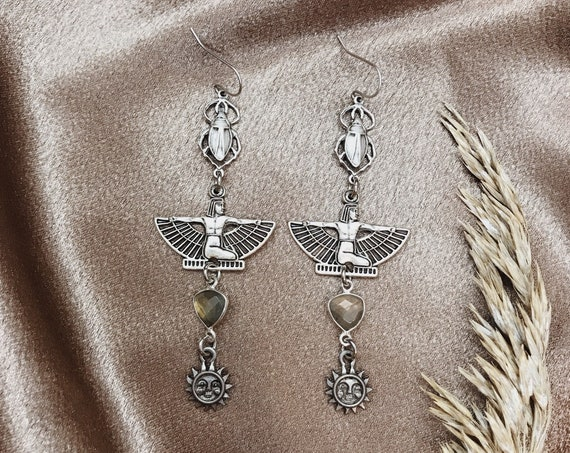 Silver Mother of Horus Egyptian Goddess Earrings with Vintage Suns, Scarabs, and Labradorite