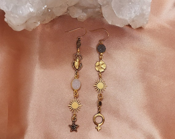 Magic Garden Mismatched Earrings with Vintage Charms, Druzy Gems, Labradorite, and Smokey Quartz