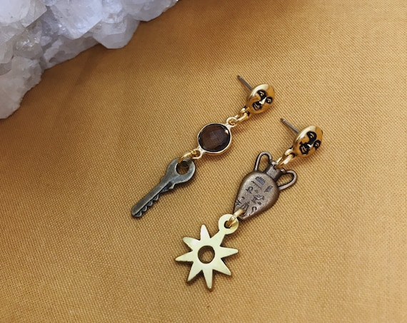 Charmed Short Mismatched Stud Earrings with Smokey Quartz, Moon Face Studs, Vintage Vase, Key, and Star