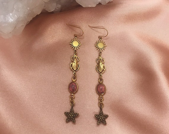 Sun Sister Earrings with Stars, Vintage Scarabs, and Vintage Pink Lucite Connectors