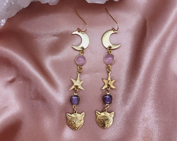 Moon Kitty Earrings with Brass Cats, Stars, Moons, and Pink Chalcedony