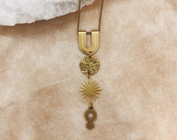 Decuma Necklace with Venus, Star, and Moon / Protection Talisman
