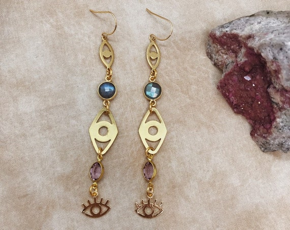 Guardian Earrings with Eyes of Protection and Labradorite