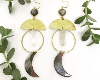Jane Marie Earrings with Labradorite, Quartz, and Shell Moons / Bridal Line