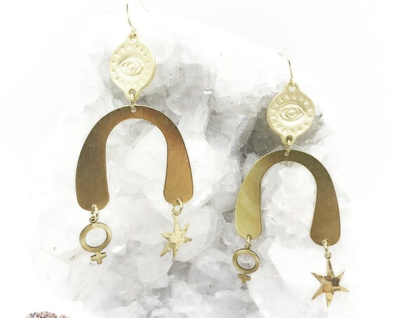 Venus Rising Earrings with Venus, Eye, and Star Charms