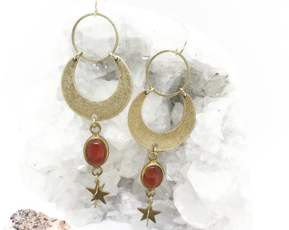 Seshat Goddess Earrings with Vintage Rust or Ivory Lucite Connectors, Brass Crescents, and Three Dimensional Stars