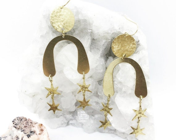 Starfall Earrings with Brass Moons and Stars