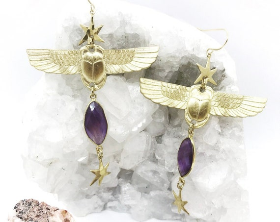 Resurrection Winged Scarab Earrings with Vintage Egyptian Scarabs, Amethyst, and Stars