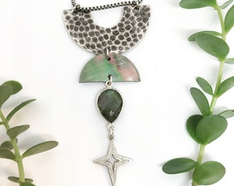 Rhea Goddess Crystal Necklace with Labradorite and Shell Crescent / Bridal Line