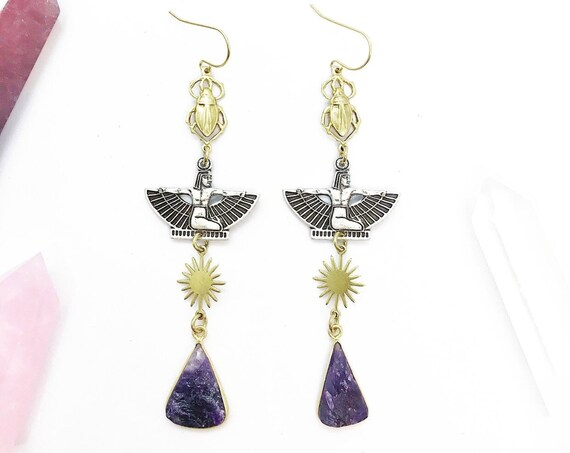 Mother of Horus Egyptian Goddess Earrings with Amethyst, Suns, and Scarabs