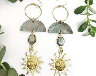 Mary Hannah Earrings with Vintage Sun, Labradorite, and Shell Crescent / Bridal Line