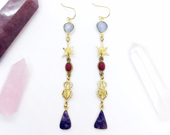 Scarab Sister Earrings with Amethyst, Cat's Eye, Vintage Brass Scarabs, Vintage Red Scarabs, and Stars