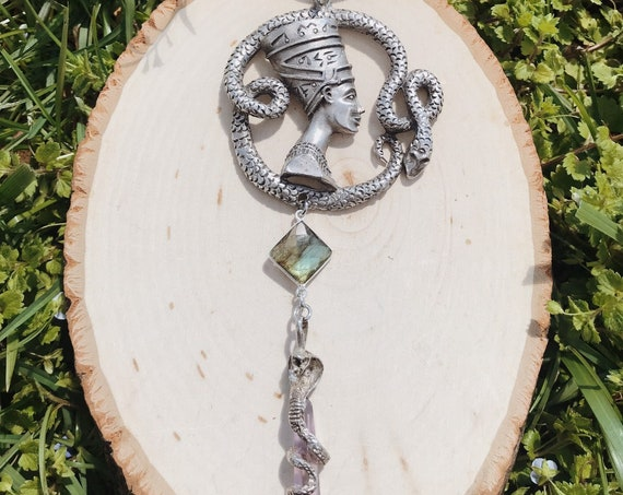 Silver Nefertiti Necklace with Snake Wrapped Amethyst and Labradorite