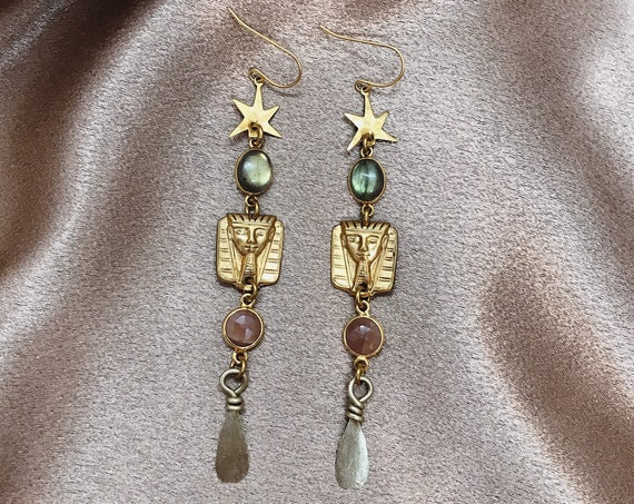 Serket Goddess Earrings with Egyptian Charms, Stars, Vintage Afghan Charms, Labradorite, and Peach Moonstone