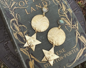 Woman in the Moon Earrings with Labradorite and Vintage Star Charms
