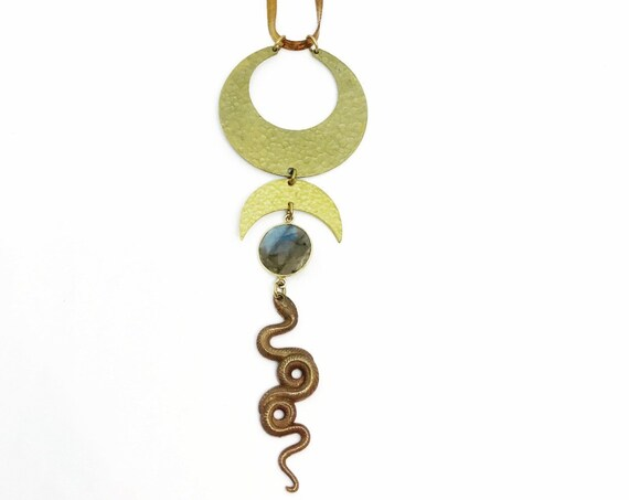 Snake Priestess Necklace with Labradorite, Hammered Brass Crescents, and Vintage Snake Charm