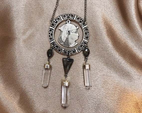 Queen of the Nile Necklace with Vintage Egyptian Revival Cleopatra, Labradorite, and Quartz Crystals