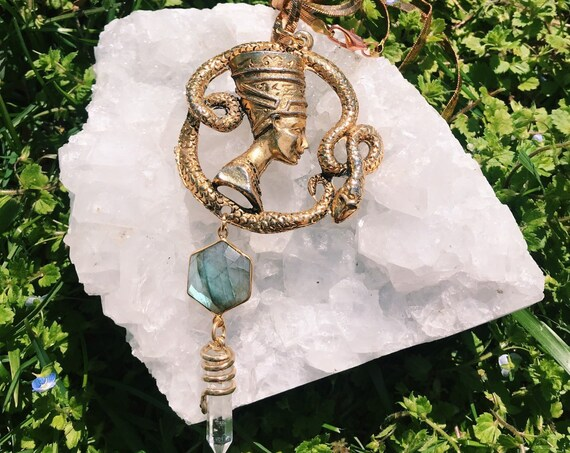 Brass Nefertiti Necklace with Snake Wrapped Quartz and Labradorite