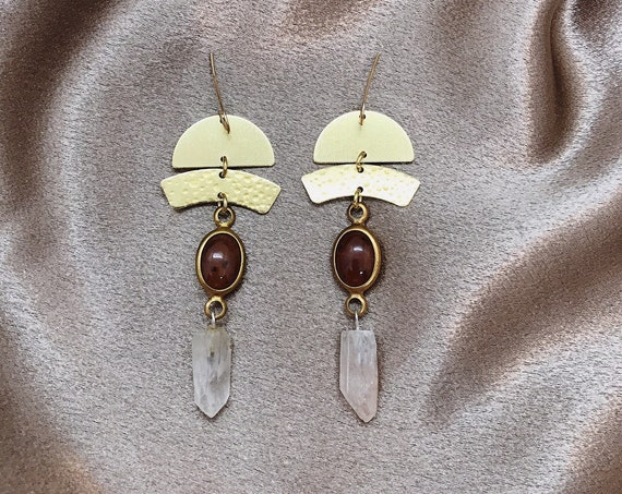 Amunet Goddess Earrings with Vintage Rust Lucite Connectors, Brass Crescents, and Quartz Points