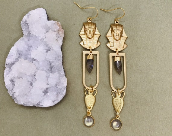 Tut Earrings with Vintage Egyptian Charms and Labradorite