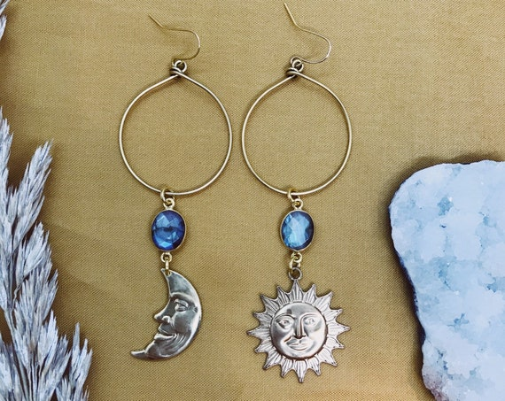 Eve Rising Sun and Moon Earrings with Labradorite