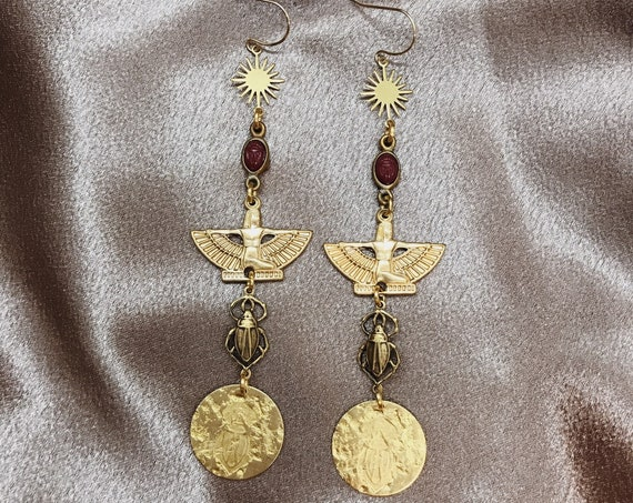 Scarab Coin Earrings with Vintage Egyptian Amulets