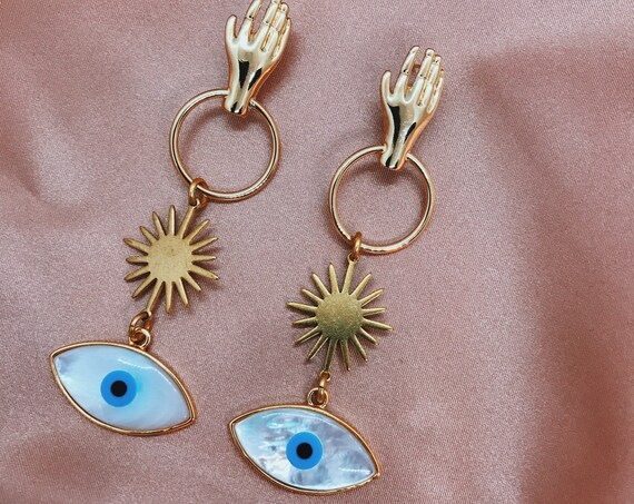 Spiritualist Earrings with Hands, Stars, and Eyes
