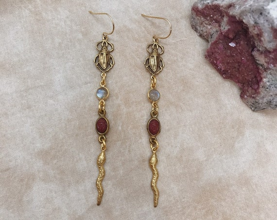 Snake Queen Earrings with Vintage Charms and Labradorite