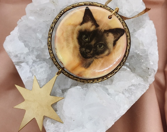 Space Cat Necklace with Vintage Cat Pendant and Star