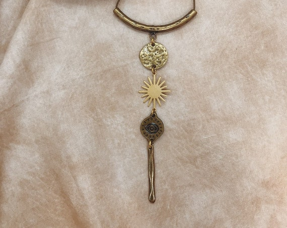 Morta Necklace with Eye of Protection, Star, and Moon / Protection Talisman