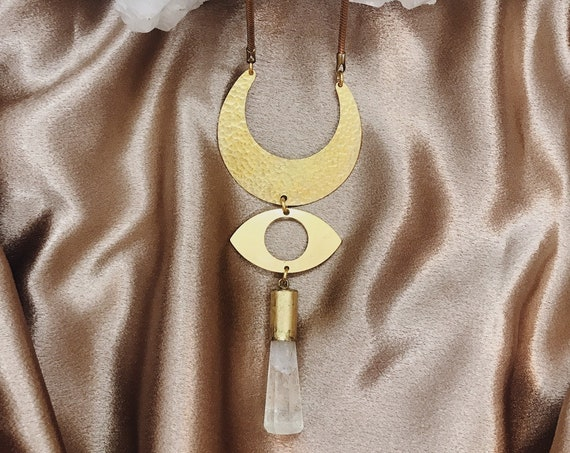 Mythic Necklace with Eye of Protection and Quartz Crystal