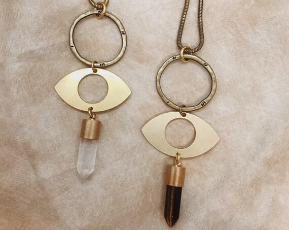 Third Eye Necklace with Quartz or Tiger's Eye